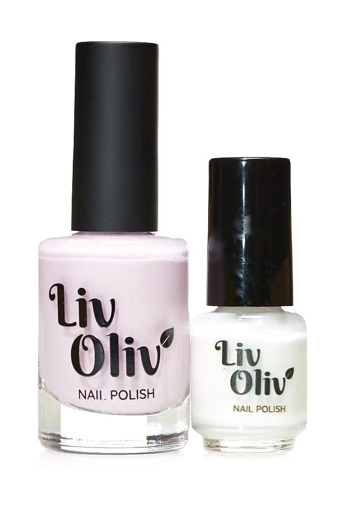 Livoliv cruelty free nail polish pink and white