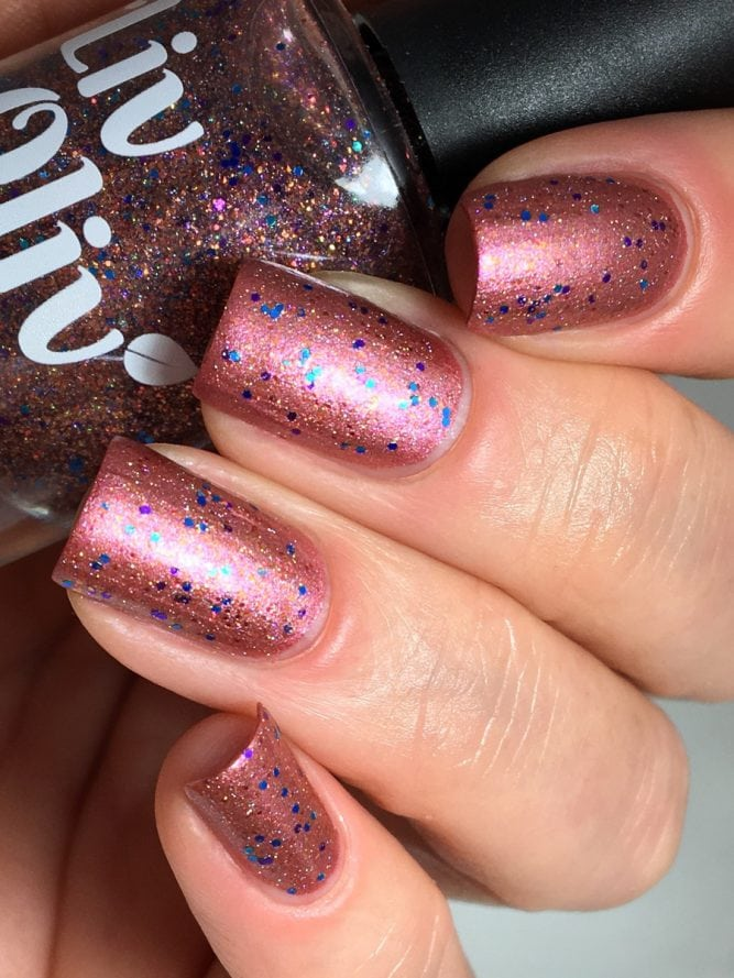 Fire Opal over Wine me, dine me bottle swatch