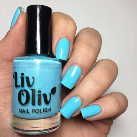Free Spirit swatch - bright neon turquoise gloss top coat