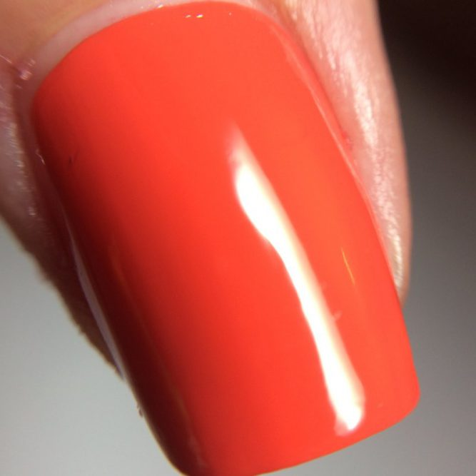 Love nail macro - bright neon red gloss top coat