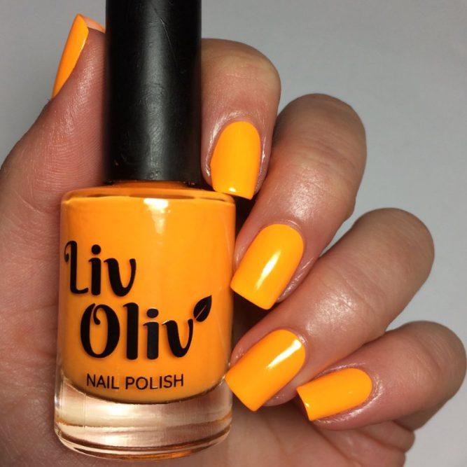 Carnival swatch - bright neon orange gloss top coat