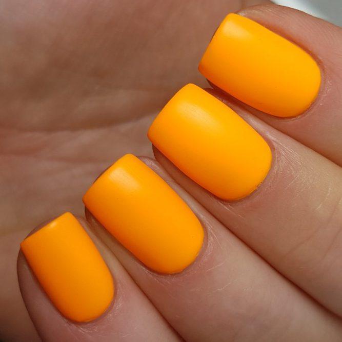 Carnival swatch - bright neon orange matte top coat