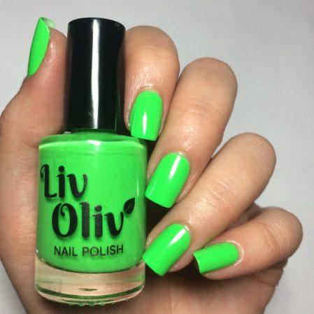 Euphoria swatch - bright neon green gloss top coat