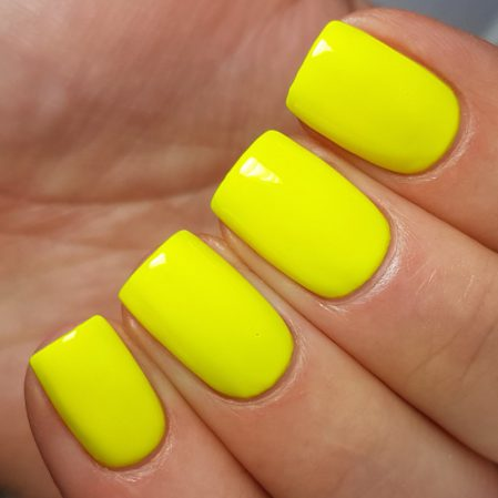 Harmony swatch - bright neon yellow gloss top coat