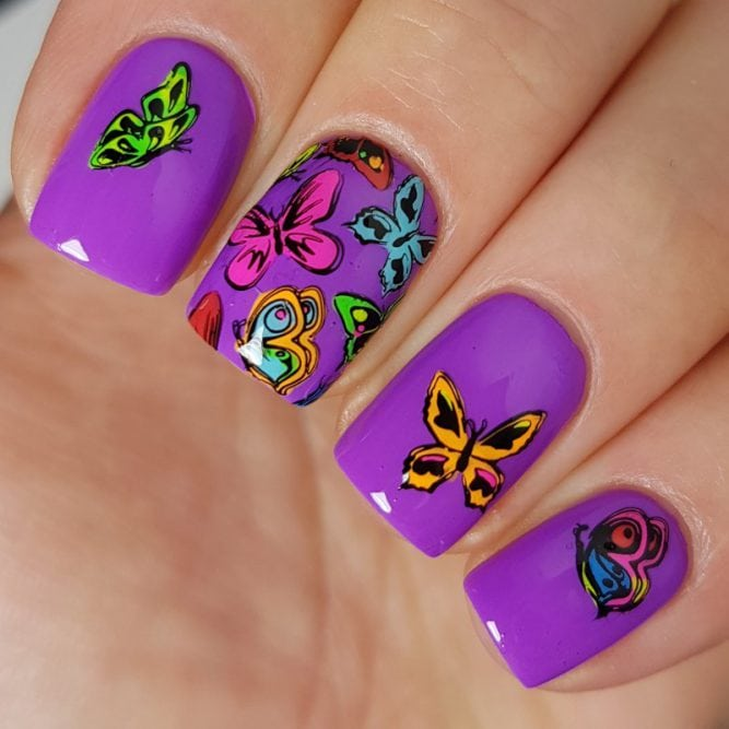 Peace nail art - bright neon purple gloss top coat