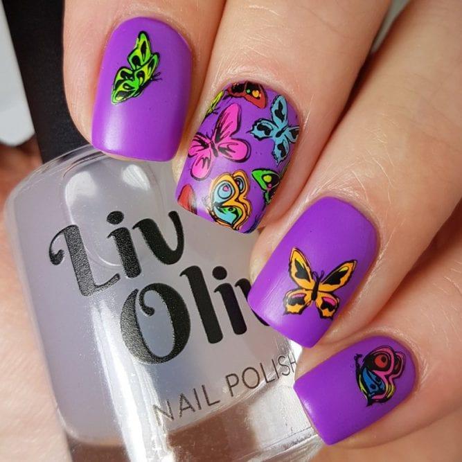 Peace nail art - bright neon purple matte top coat