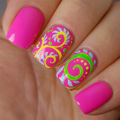 Psychedelic swatch - bright neon pink gloss top coat