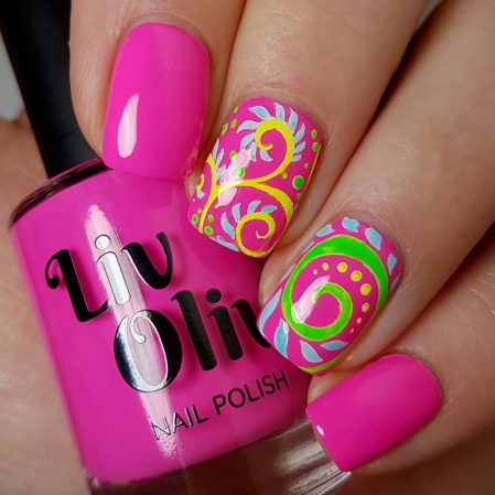Psychedelic nail art - bright neon pink gloss top coat