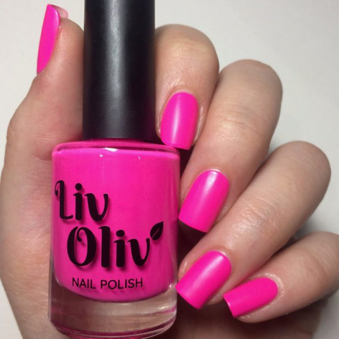 Psychedelic swatch - bright neon pink matte top coat
