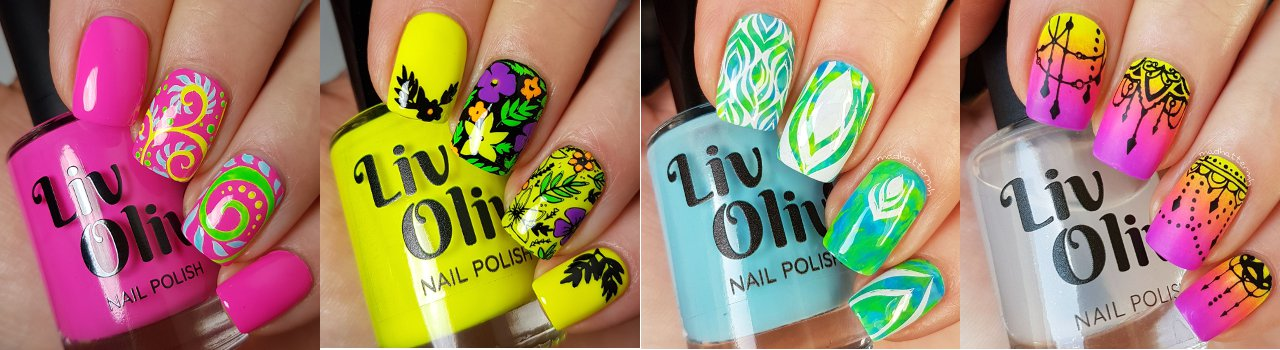 Nail Art using bright Neon Nail Polish