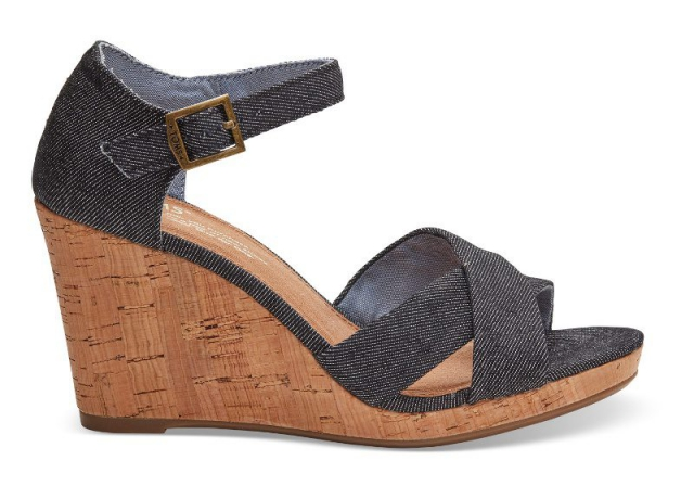 BLACK DENIM WOMEN'S SIENNA WEDGES