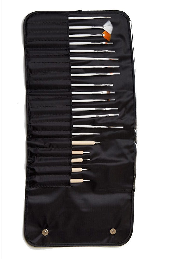 20 piece nail art brushes and dotters in a black rollout case