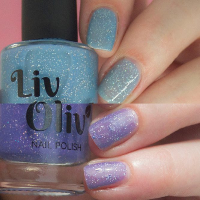 blue to purple photochromic cruelty free nail polish transition nails