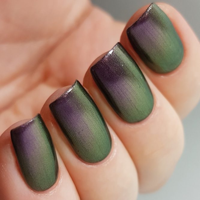 LivOliv Cruelty Free Nail Polish ultra chrome purple and green