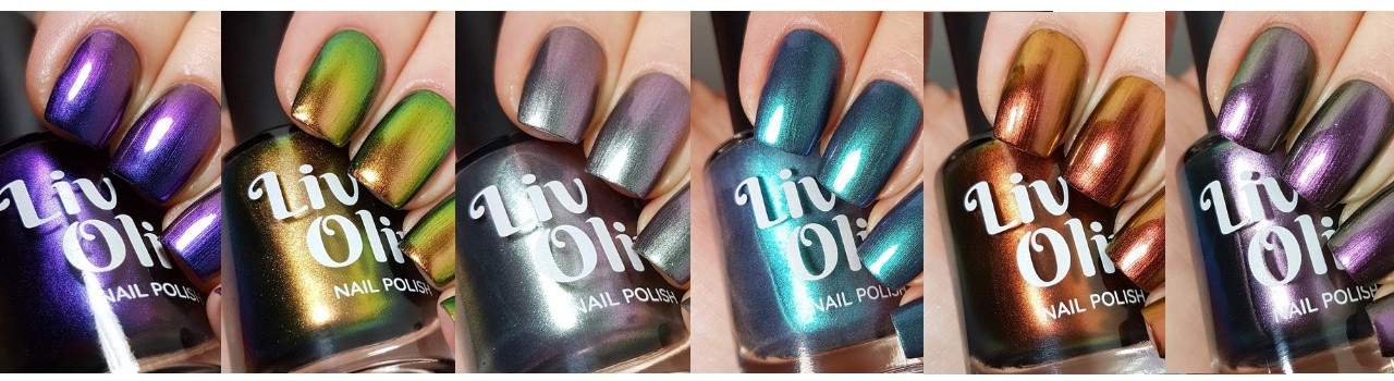 close up of six ultra chrome nail polish