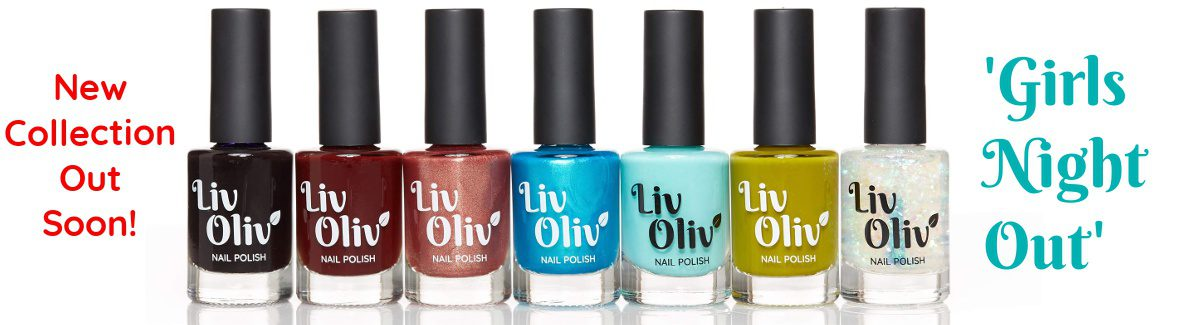 LivOliv New Collection 'Girls Night Out' seven new nail polishes in row; ultra violet, deep red, rose gold, turquoise, jade green, olive green and iridescent rainbow topper