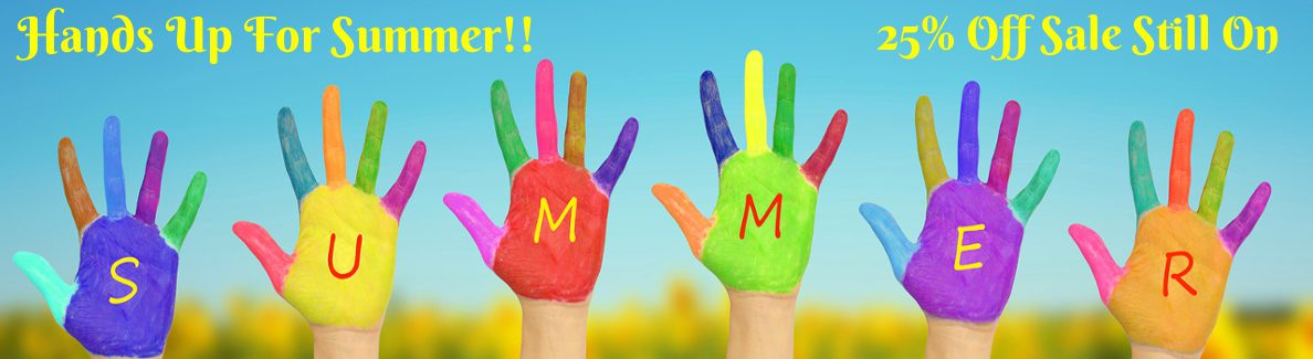 6 multi-coloured painted hands with SUMMER